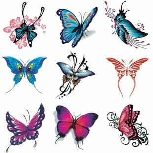【10张套装】纹身贴防水蝴蝶彩色贴胸手臂遮疤小尺寸身体彩绘