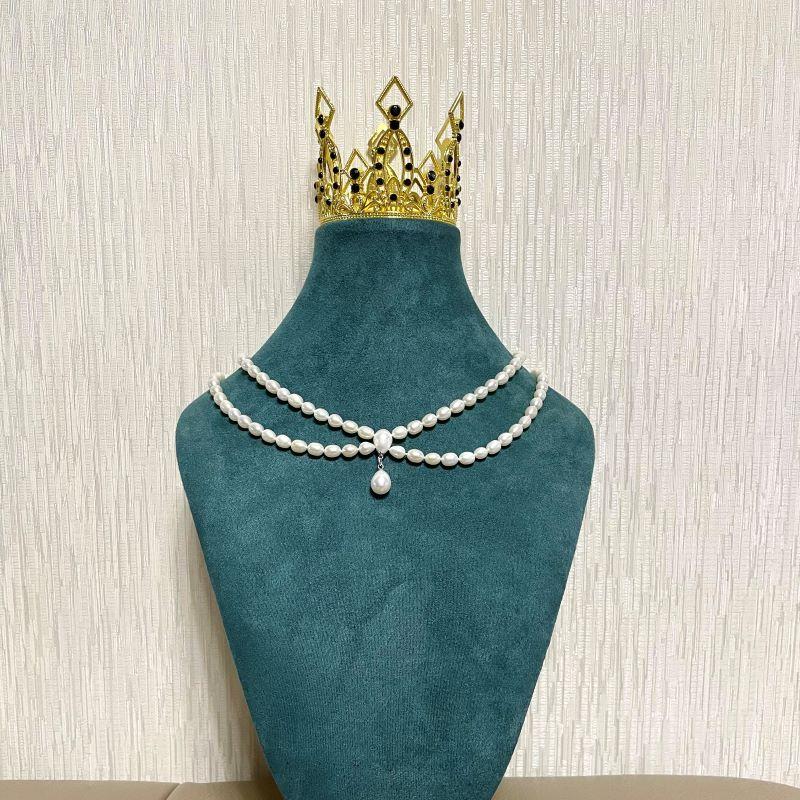 Natural fresh water pearl design simple literature and art RETRO handmade double layer Necklace bride jewelry Lolita neck ornament