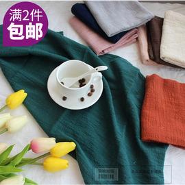 餐巾布棉麻日式纯色肌理纹餐垫杯垫 西餐布摄影布 拍摄拍照道具