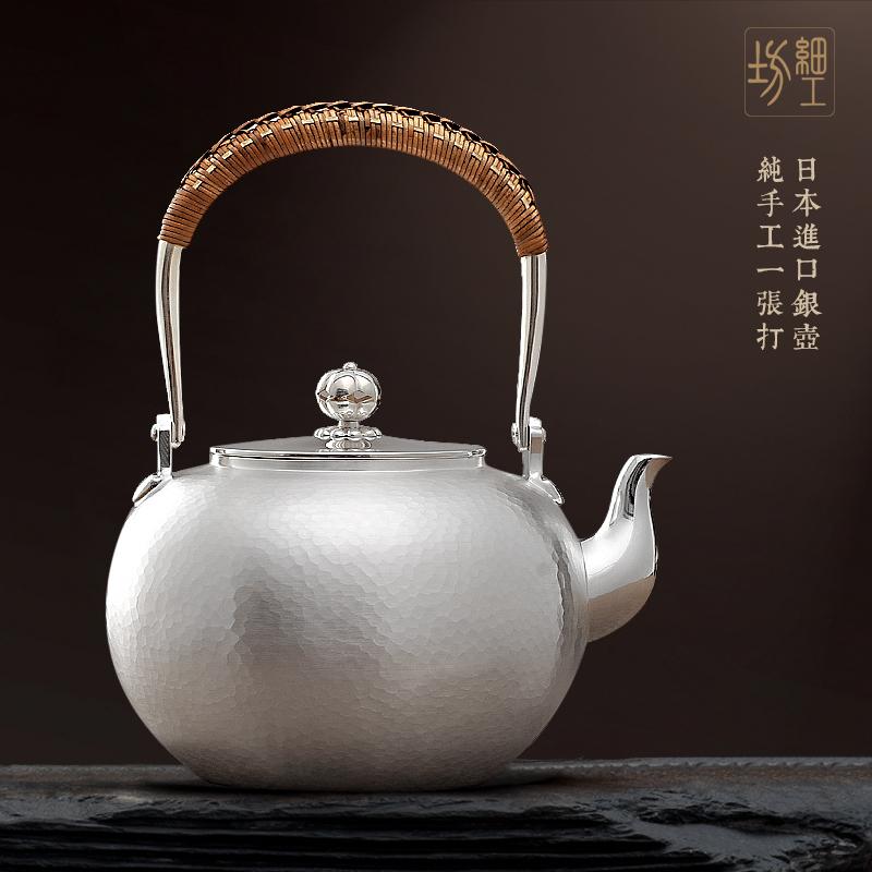 细工坊银壶纯银999煮茶壶烧水壶