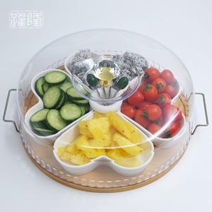 创意陶瓷水果盘带盖下午茶点心分格坚果拼盘试吃零食干果盘带托盘