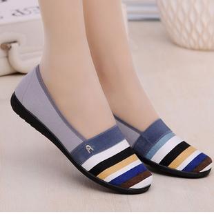 老北京女布鞋 软底一脚蹬妈妈工作鞋 驾车鞋 浅口单鞋 透气平跟帆布鞋