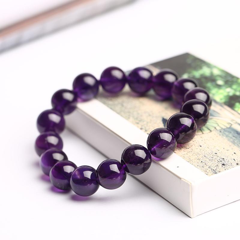 晓蕾晓蕾旗舰店 紫水晶手链 紫罗兰色深紫水晶单圈手串多圈饰品