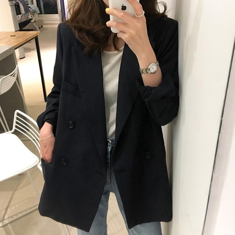 2018春秋韩版chic黑色小西装中长款职业宽松休闲西服上衣外套女潮