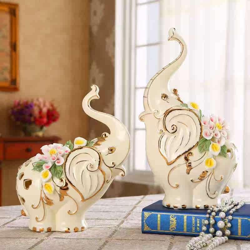 镇店之宝陶瓷大象摆件招财客厅电视柜装饰工艺品乔迁礼物结婚礼