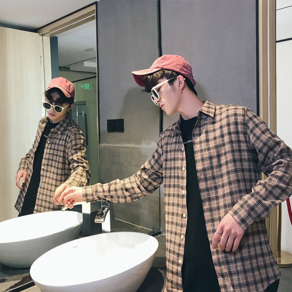 秋季港风格子衬衫男士大码长袖韩版休闲帅气衬衣男装外套C05 P35