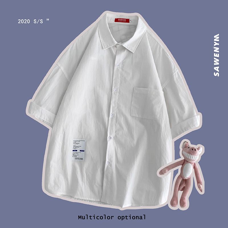 B413-1-CS923 P40衬衫男格子短袖大码五分袖衬衣港风休闲外套