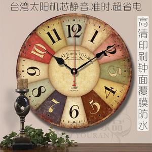 地中海欧式乡村田园复古客厅壁钟创意简约装饰静音木质挂钟表包邮