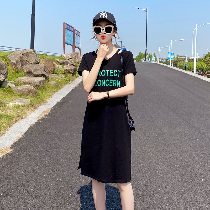 Slim dress womens 2021 summer dress new style with letters closing waist showing thin elastic cotton large medium and long skirt