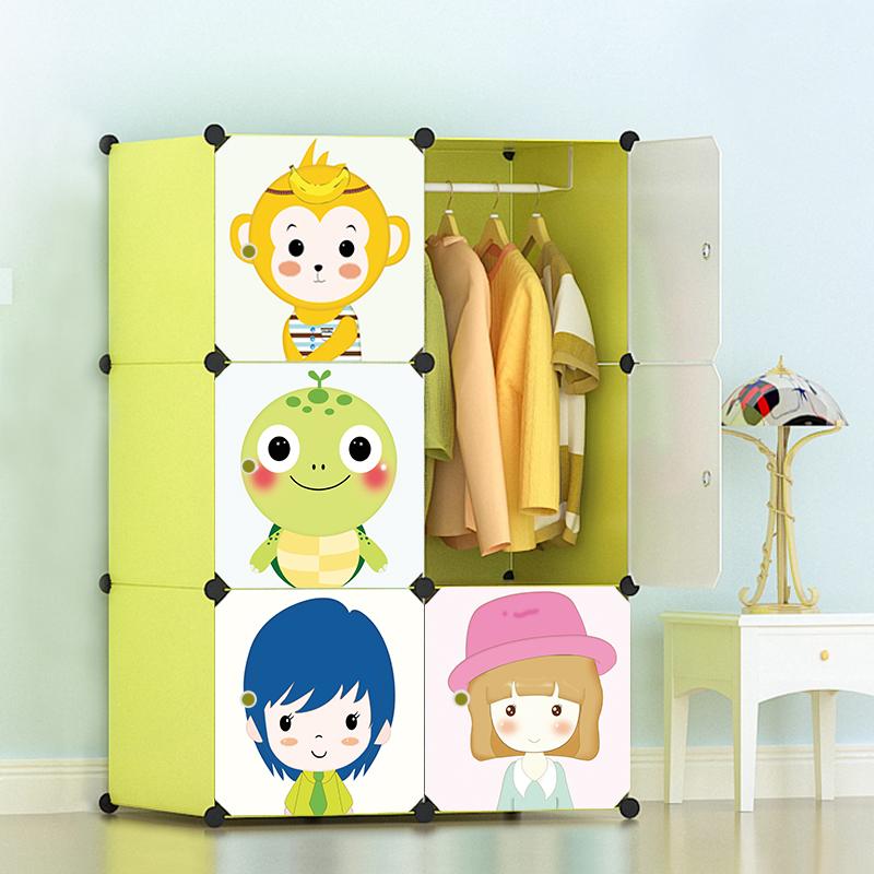 Гардероб легко ребенок ребенок гардероб ткань стальная полка сборка хранение кабинет ребенок мультики простой современный экономического типа