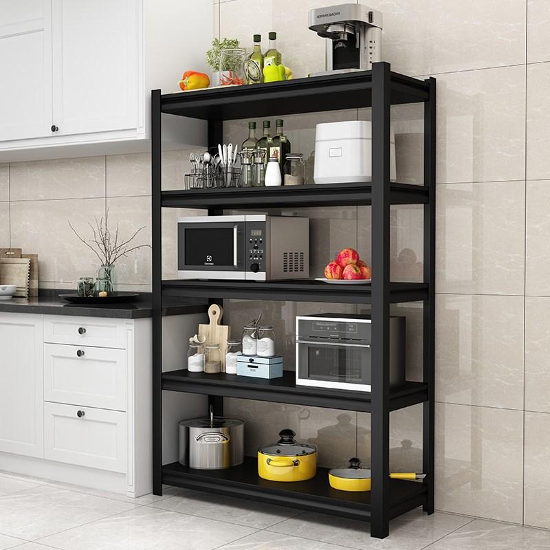厨房置物架收纳储物架4家用落地金属3层柜子客厅锅具电器架子