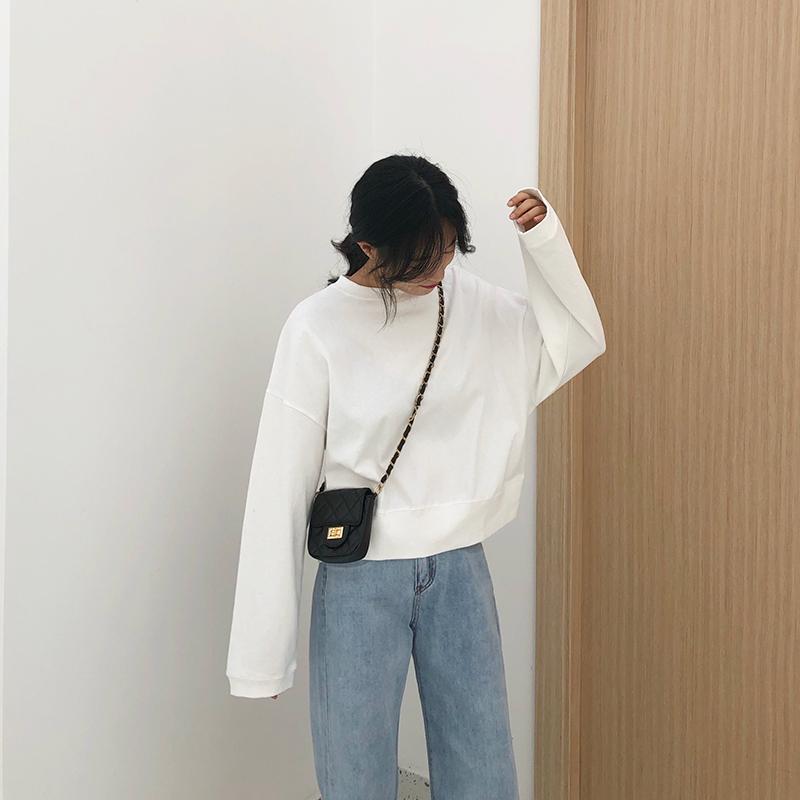 白色短款卫衣女春秋薄款2019新款潮韩版宽松长袖圆领套头纯色无帽
