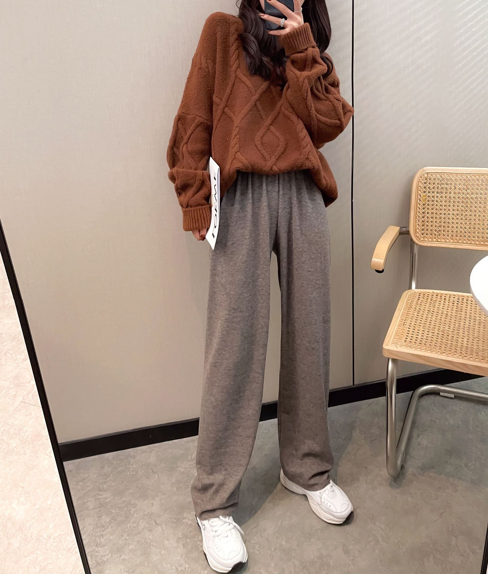 2021 autumn and winter knitted wide leg pants womens soft waxy cashmere like pants with high waist and thin drape