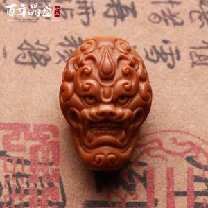 橄榄核雕刻三通单籽单核背云龙貔貅兽面佛头单子佛珠手串手链配饰