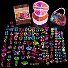 公主寶石玩具鉆石兒童坊水晶玩具塑料diy串珠七彩石益智禮物寶箱