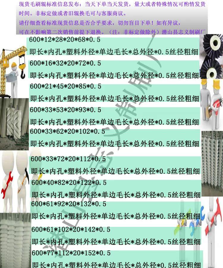 可定制工业毛刷辊毛刷轮配件现货尼龙丝毛刷滚耐高温耐磨600mm长