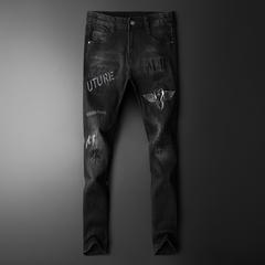 男士牛仔裤2021新款时尚刺绣牛仔裤0625 P129黑底