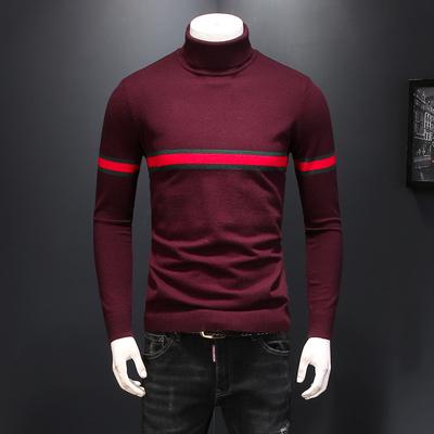 高领羊毛衫2018冬季新款 舒适提花针织毛衣8719 P115 酒红