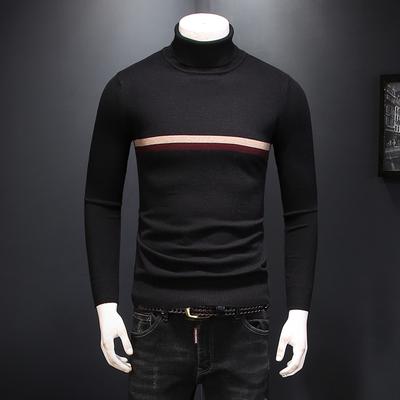高领羊毛衫2018冬季新款 舒适提花针织毛衣8718 P115 黑色