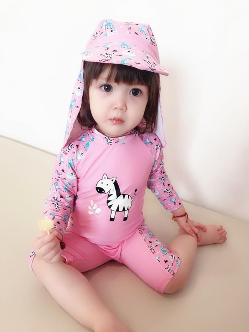 韩国韩范女童斑马连体防紫外线泳衣包邮