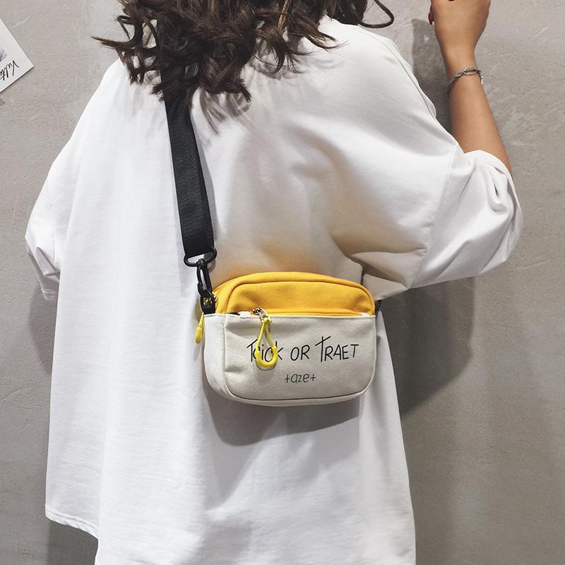 夏季小包女包2019新款时尚单肩包百搭少女斜挎包ins小清新帆布包(非品牌)