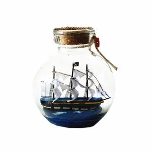 瓶中船模型摆件帆船木制小号水晶球