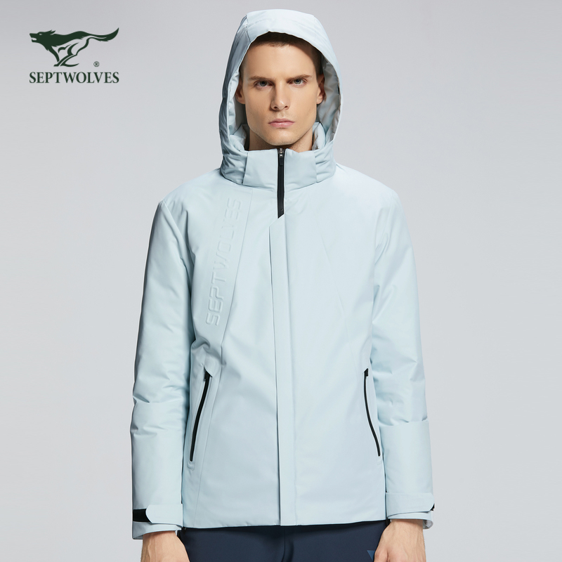 Seven wolf white duck down down down jacket with thick style, wearing fashion, detaching sports pure color cap, polyester