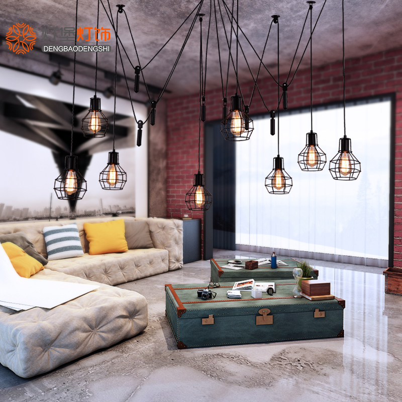 American style retro industrial style simple IKEA lift living room dining room iron multi head clothing store small cage hanging lamps