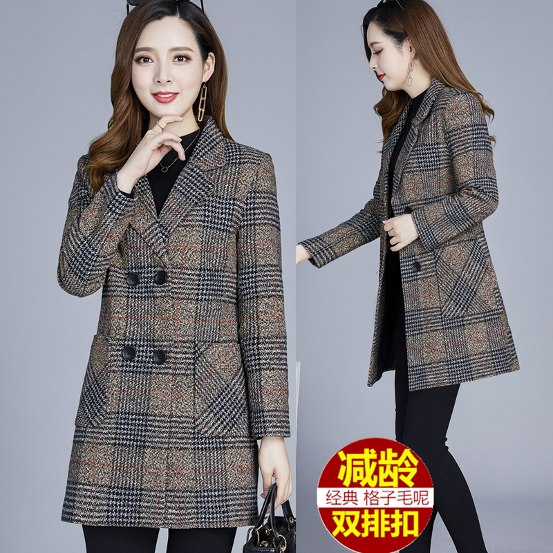 Fall / winter 2019 new woolen coat womens middle long thick Plaid middle aged womens mothers wear 40-50 spring and Autumn