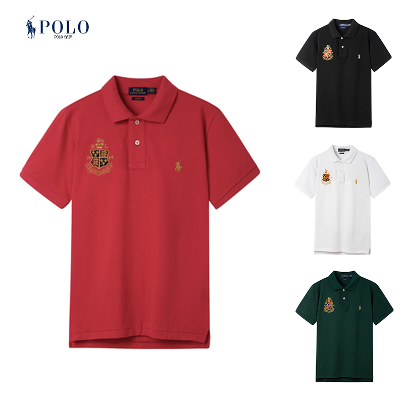 Ralph Paul polo shirt mens summer short sleeve crown embroidered polo shirt Lauren fashion T-shirt