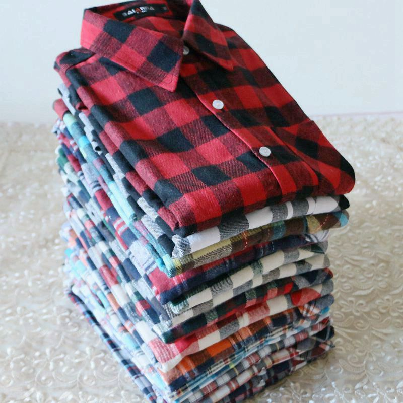 [special price every day] autumn and winter new Plaid Shirt womens pure cotton ground wool long sleeve bottomed shirt style