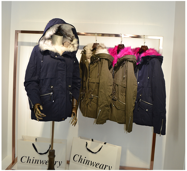 Autumn and winter off season fur single tail goods star Parka short coat female fox fur liner clearance treatment