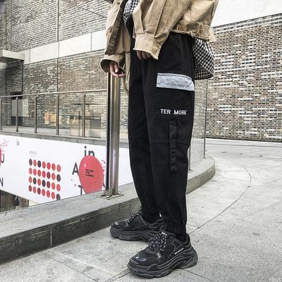 港9001-p55弹力日系ins潮款哈伦裤大码宽松休闲裤多口袋工装裤男