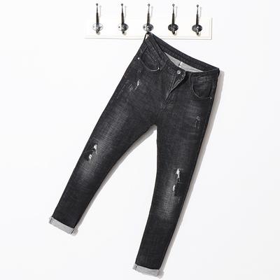 J9301-p85新款男弹力小脚修身男破洞小哈伦牛仔裤男97%棉3%氨纶