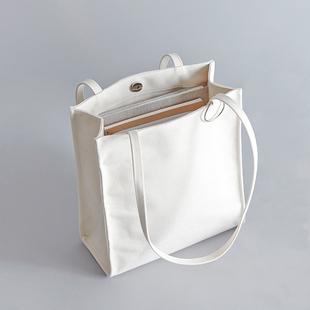上班单肩包女韩版文艺小清新帆布包ins日系白色学生手拎手提包