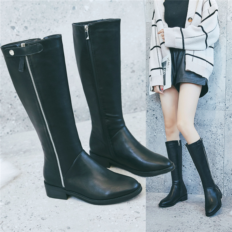 Womens thick bottomed boots: new versatile chivalrous pipe boots for fall / winter 2020