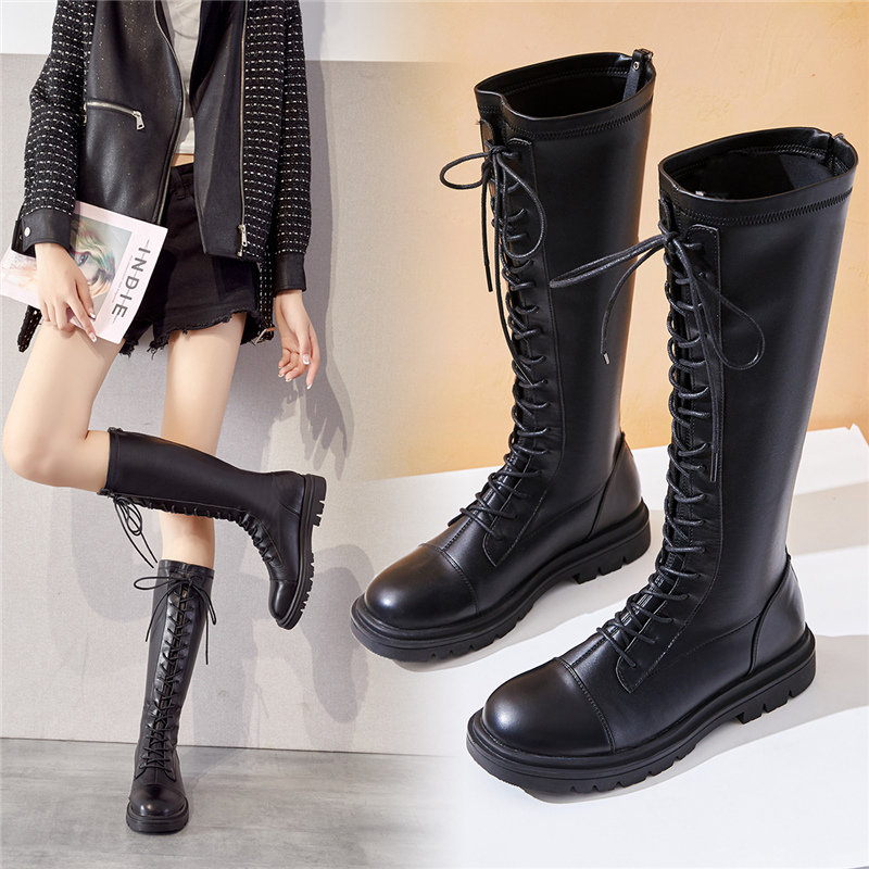 Long boots womens flat bottom 2020 new autumn and winter round head high boots below the knee zipper versatile lace up Knight boots
