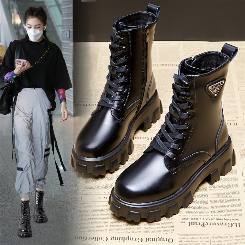 Leather Martin boots womens autumn / winter 2020 New England style simple versatile Chelsea locomotive boots thin short tube Fashionable Boots
