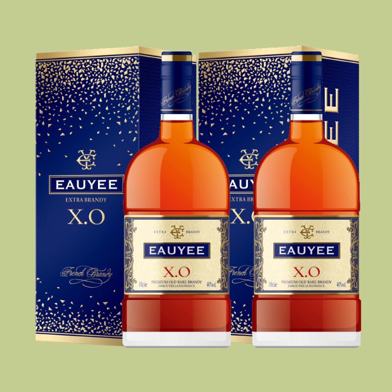 2支法国原瓶进口EAUYEE XO白兰地1L每支EXTRA BRANDY葡萄蒸馏洋酒