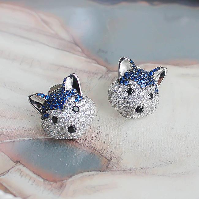 He Jia 925 silver Austrian diamond Zodiac dog husky Akita Beagle cute dog earrings earrings female