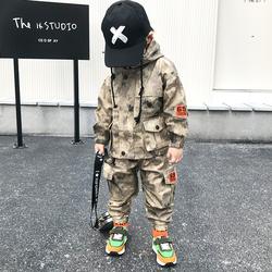 男童秋装儿童运动套装2020春秋新款男孩帅气军装迷彩服工装两件套