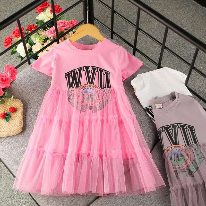 女童时尚夏季新款连衣裙2018韩版洋气拼接网纱裙女宝宝蛋糕裙长裙