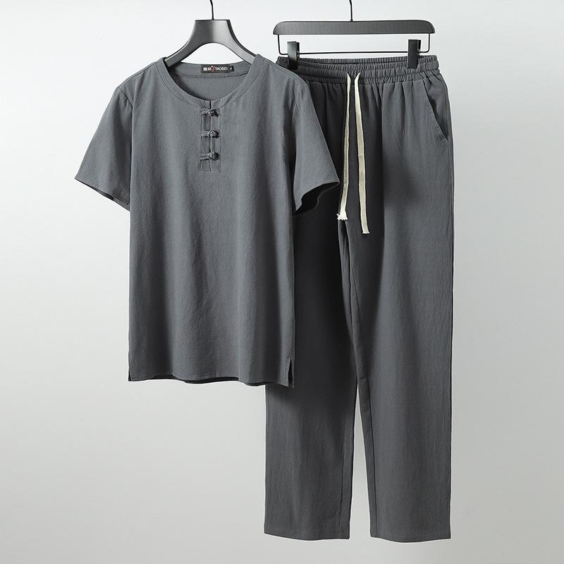 加大码唐装阔腿裤5尺10X冰丝两件套中国风短T恤300斤男特大版套装