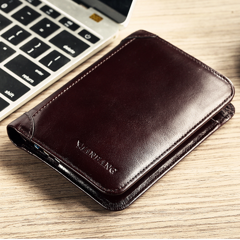 Manbang popular mens wallet mens top leather wallet short 30% discount business classic Wallet