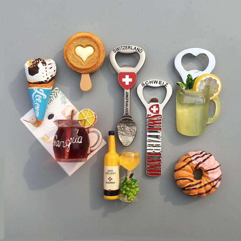 热销567件正品保证北欧ins风 冰淇淋雪糕甜甜圈 啤酒开瓶器 瓶起子冰箱贴 磁贴 结婚