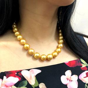 收藏南洋金珠浓金色天然海水项链