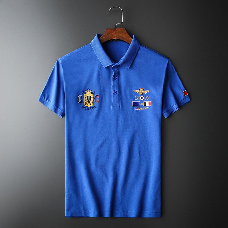 2021年新款刺绣短袖POLO衫 钱塘3019 T1102 P65 蓝色