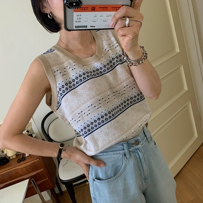 July ribbontie Korea purchasing national style printed round neck sleeveless sweater vest top (0521)