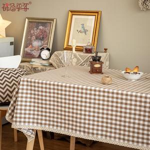 桌布布艺北欧ins风餐桌布长方形家用台布格子茶几布田园盖布定制