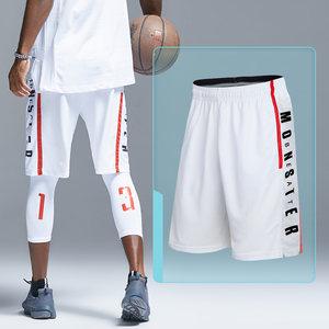 夏季速干篮球短裤宽松透气运动休闲短裤男字母跑步健身训练五分裤